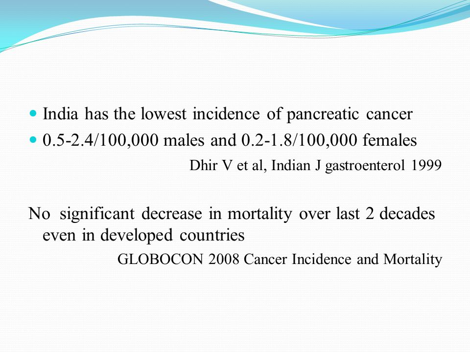 India has the lowest incidence of pancreatic cancer