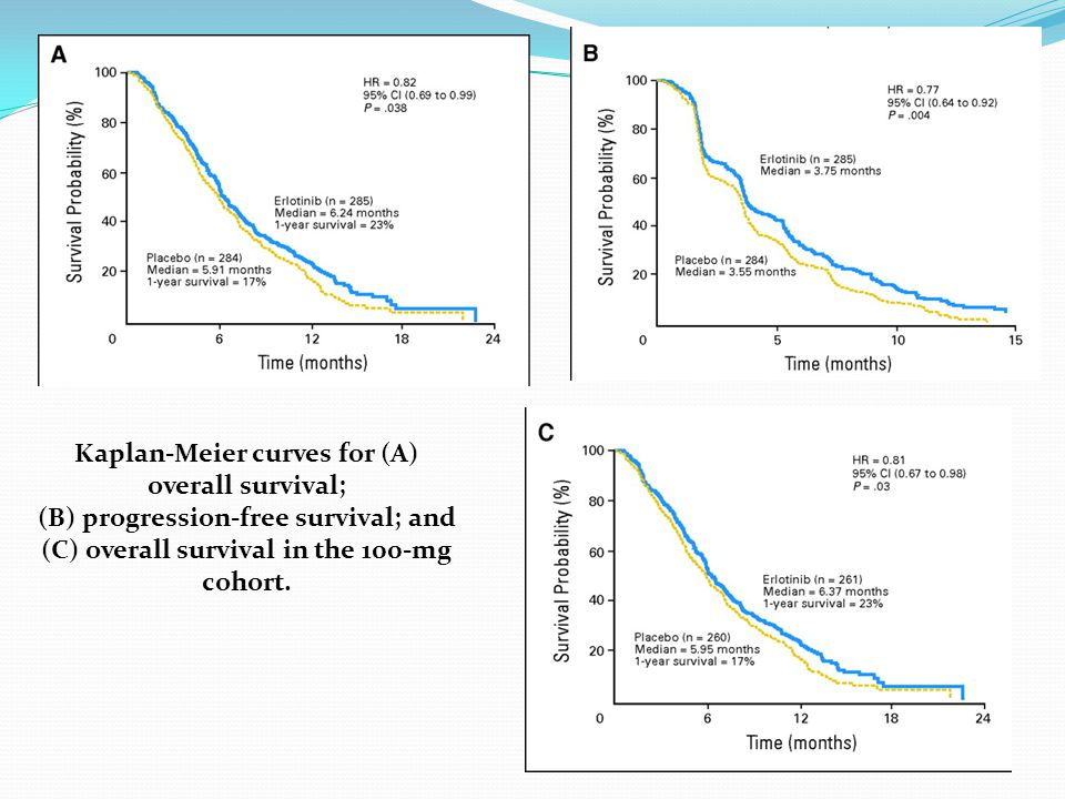 Kaplan-Meier curves for (A) overall survival;