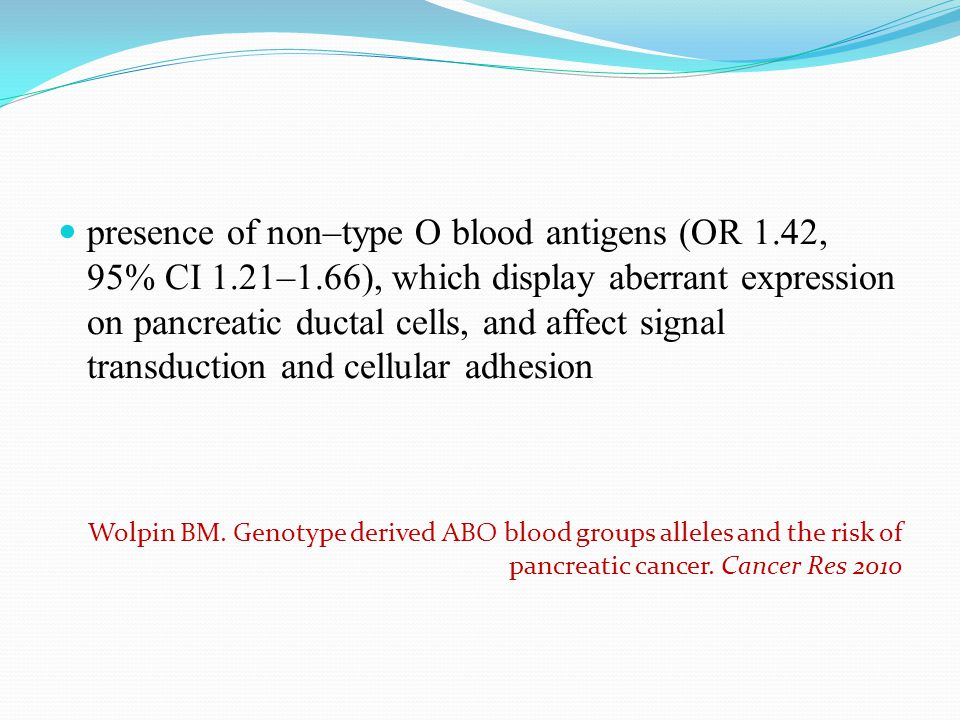 presence of non–type O blood antigens (OR 1. 42, 95% CI 1. 21–1