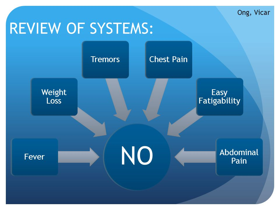 NO REVIEW OF SYSTEMS: Fever Weight Loss Tremors Chest Pain