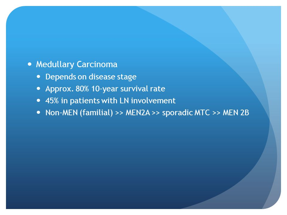 Medullary Carcinoma Depends on disease stage