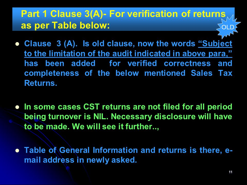 Part 1 Clause 3(A)- For verification of returns as per Table below: