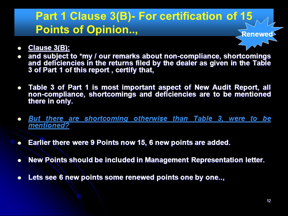 Part 1 Clause 3(B)- For certification of 15 Points of Opinion..,