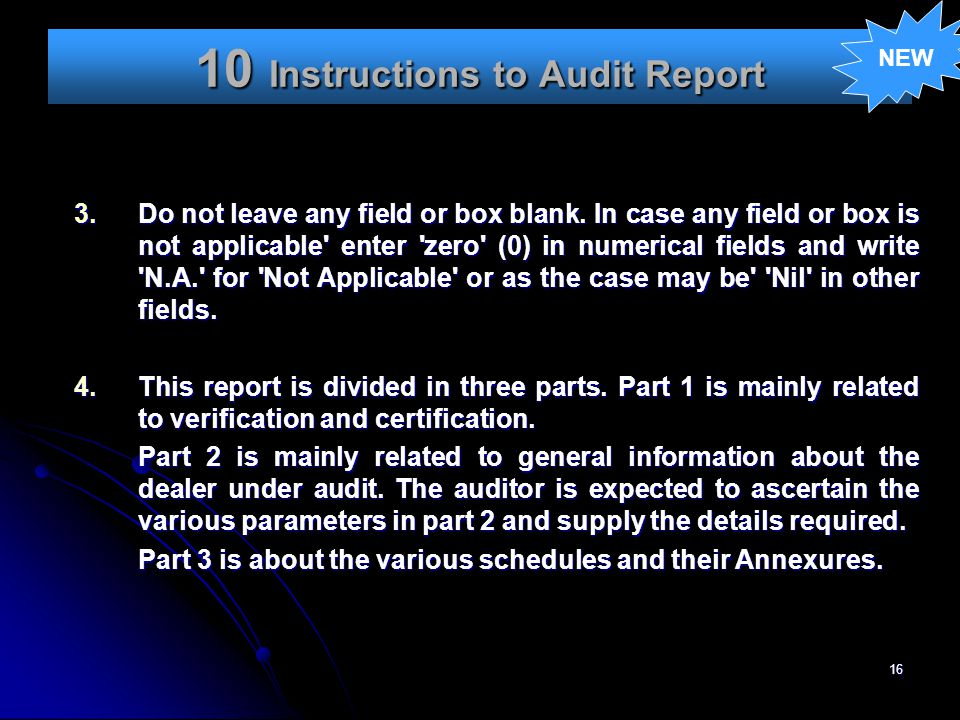 10 Instructions to Audit Report