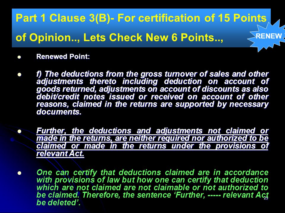 Part 1 Clause 3(B)- For certification of 15 Points of Opinion