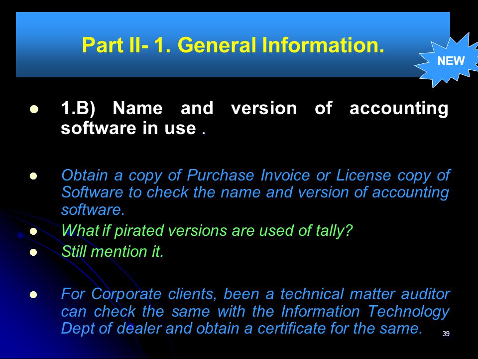 Part II- 1. General Information.