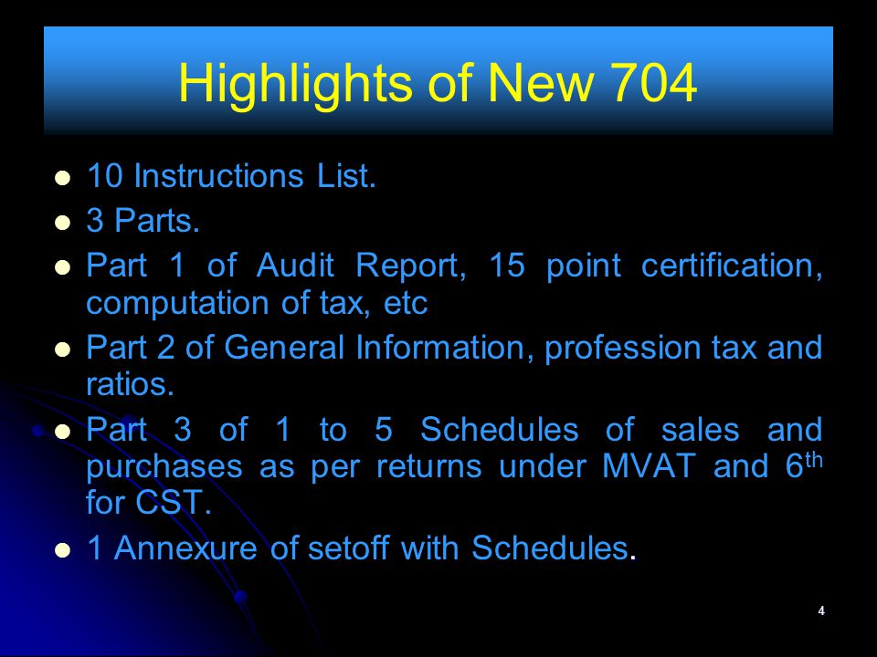 Highlights of New 704 10 Instructions List. 3 Parts.