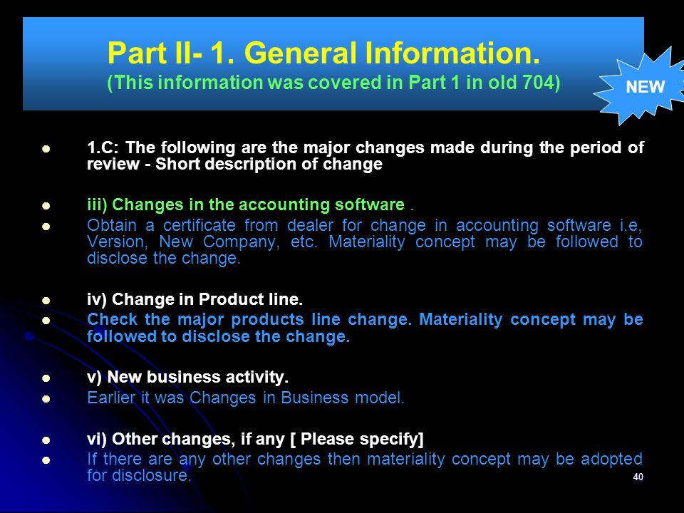 Part II- 1. General Information