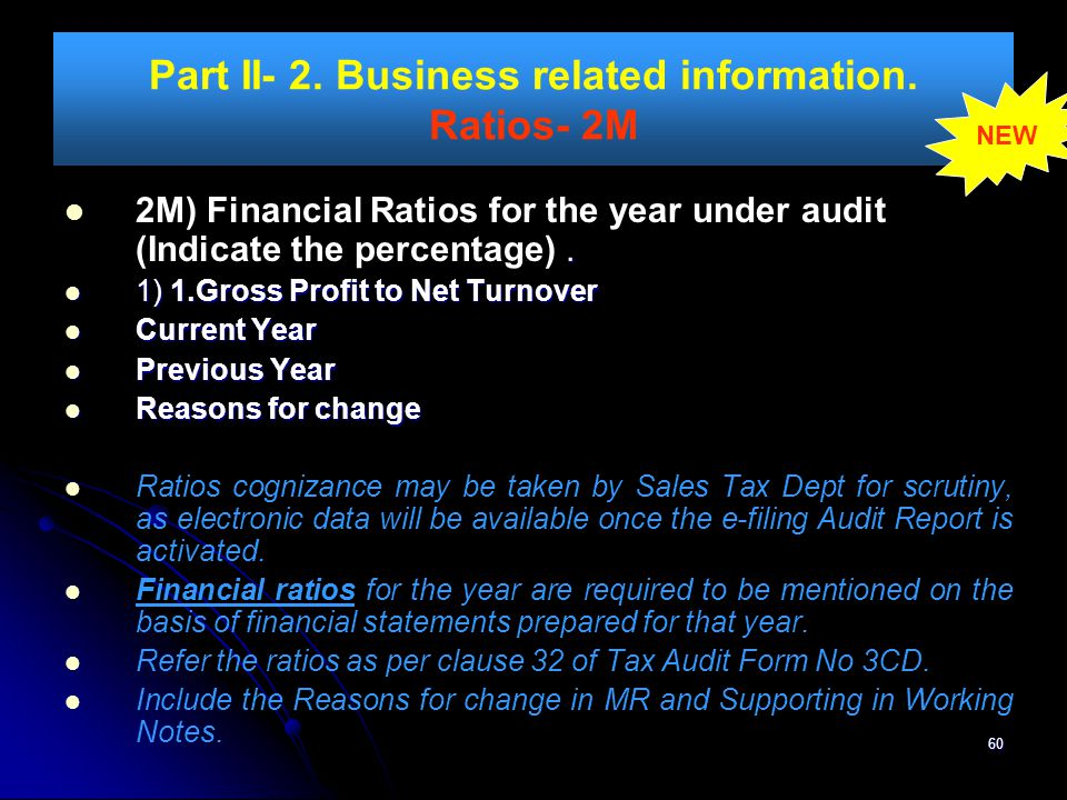 Part II- 2. Business related information. Ratios- 2M