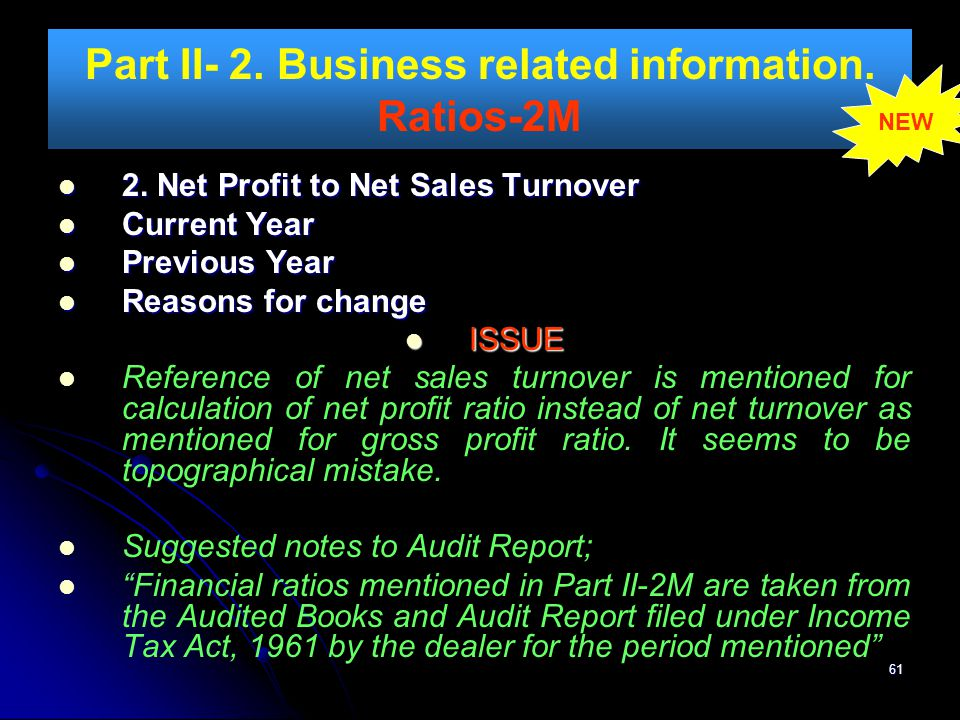 Part II- 2. Business related information. Ratios-2M