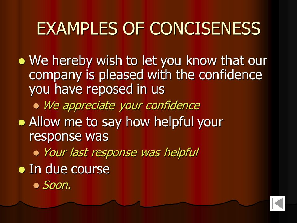 EXAMPLES OF CONCISENESS