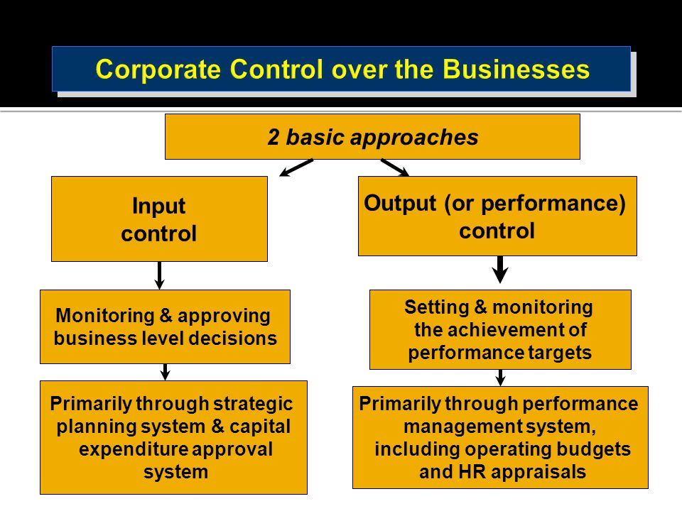 Corporate Control over the Businesses