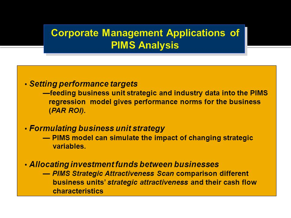 Corporate Management Applications of PIMS Analysis