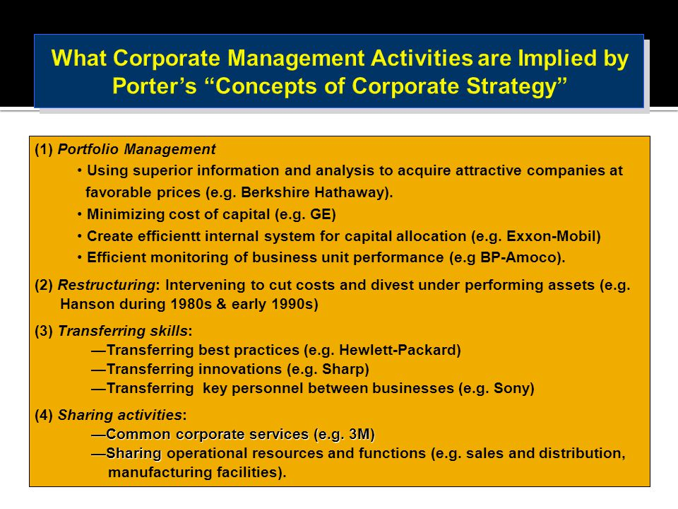 What Corporate Management Activities are Implied by Porter's Concepts of Corporate Strategy