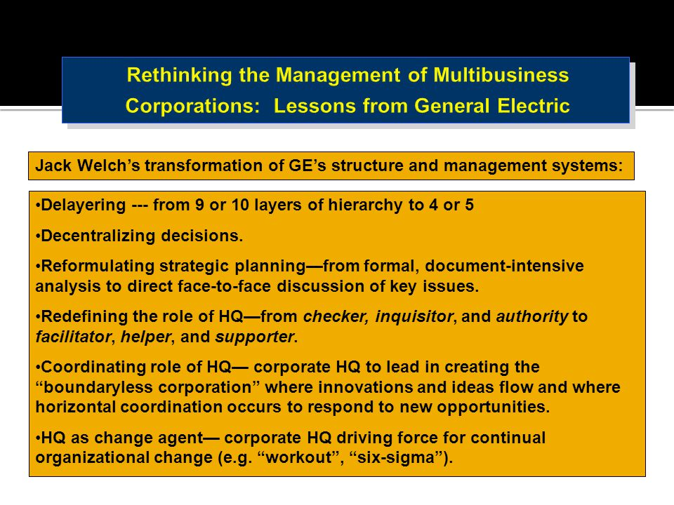 Rethinking the Management of Multibusiness Corporations: Lessons from General Electric