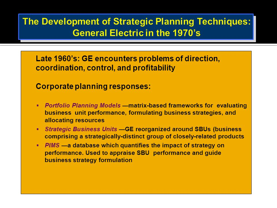 The Development of Strategic Planning Techniques: General Electric in the 1970's