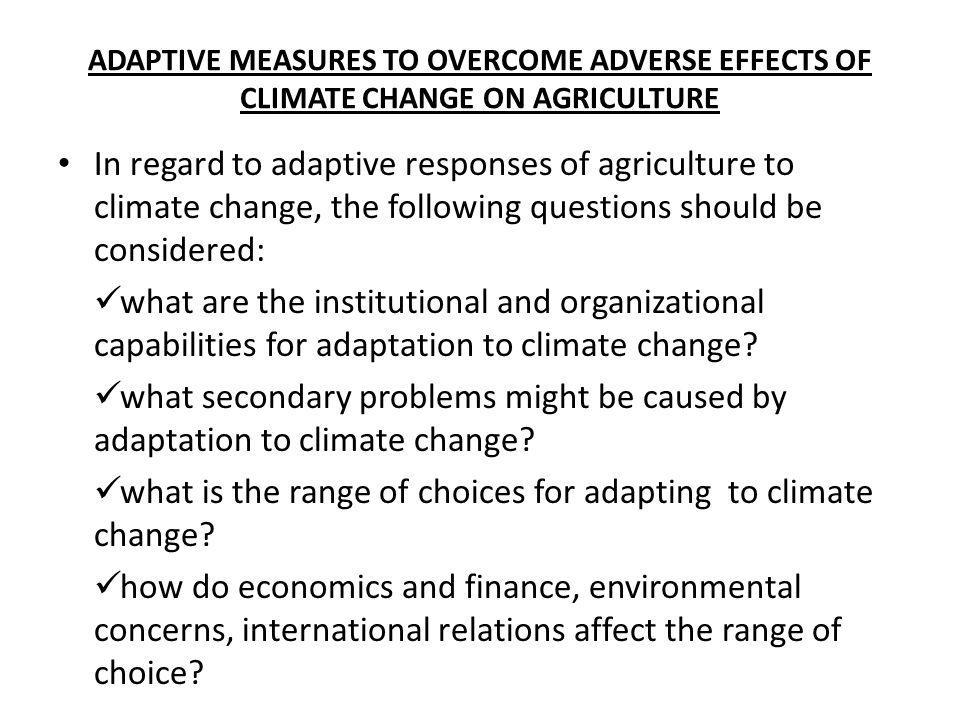 what is the range of choices for adapting to climate change