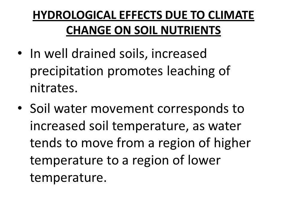 HYDROLOGICAL EFFECTS DUE TO CLIMATE CHANGE ON SOIL NUTRIENTS