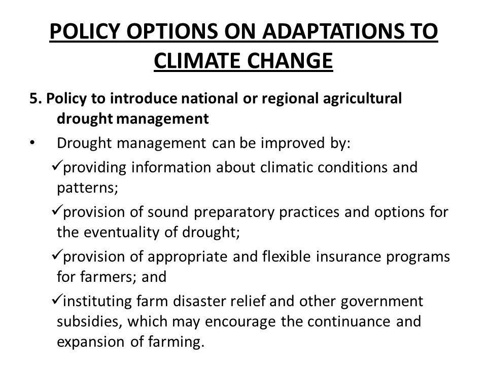 POLICY OPTIONS ON ADAPTATIONS TO CLIMATE CHANGE