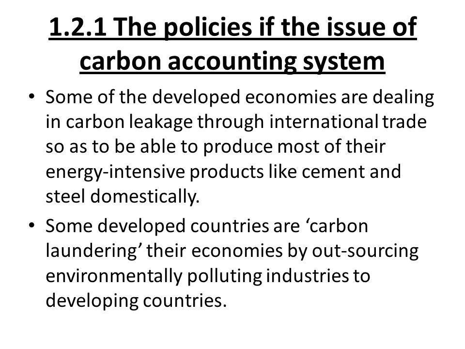 1.2.1 The policies if the issue of carbon accounting system
