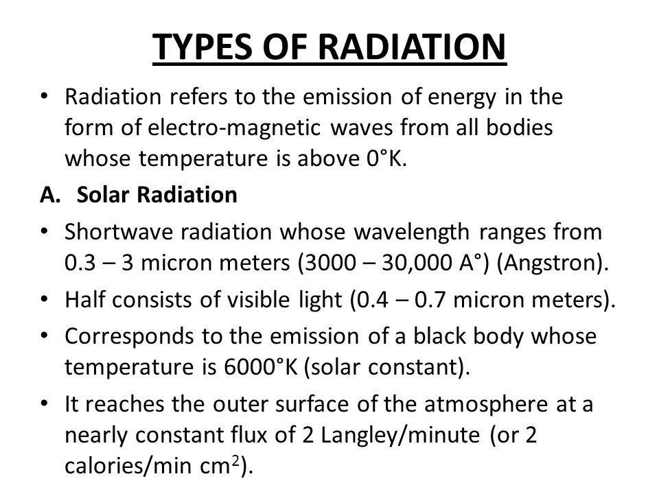 TYPES OF RADIATION Radiation refers to the emission of energy in the form of electro-magnetic waves from all bodies whose temperature is above 0°K.