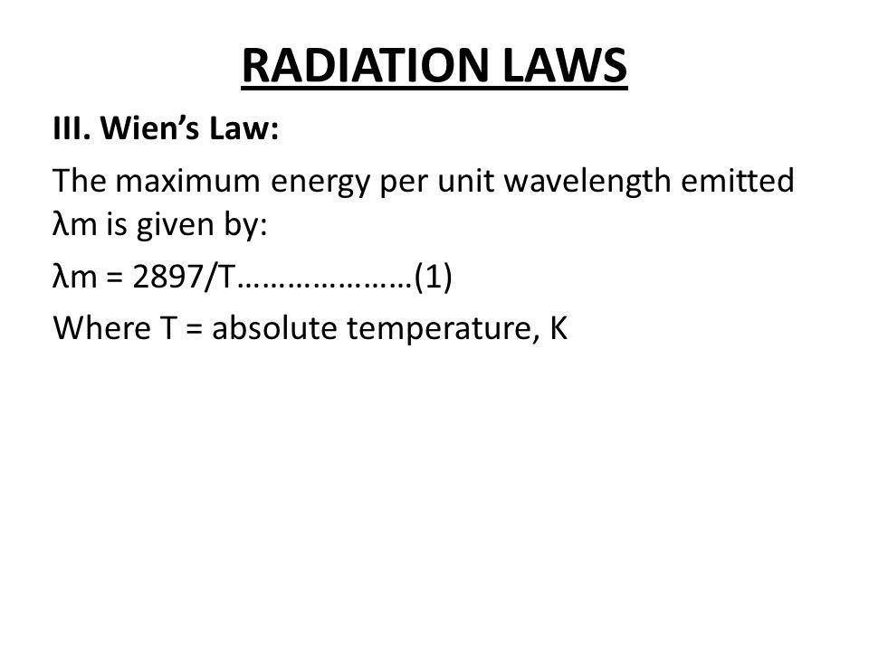 RADIATION LAWS