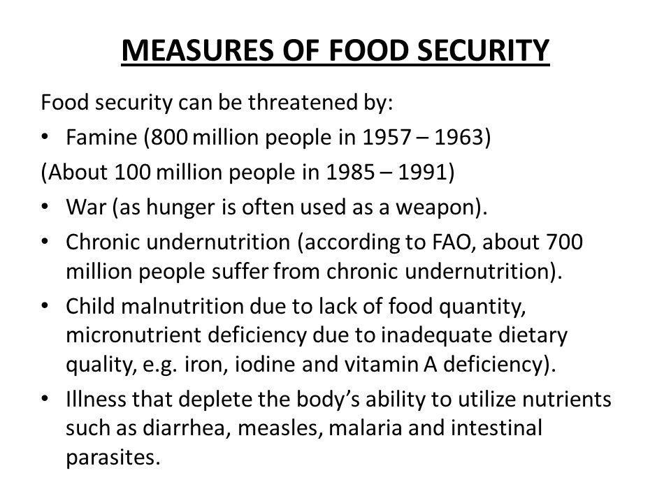 MEASURES OF FOOD SECURITY