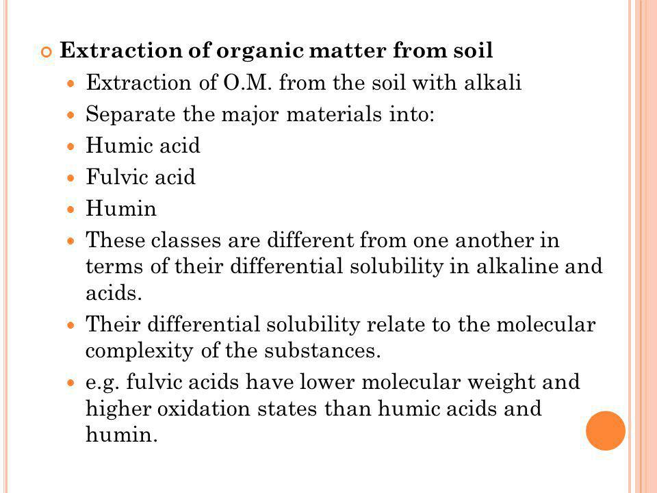 Extraction of organic matter from soil