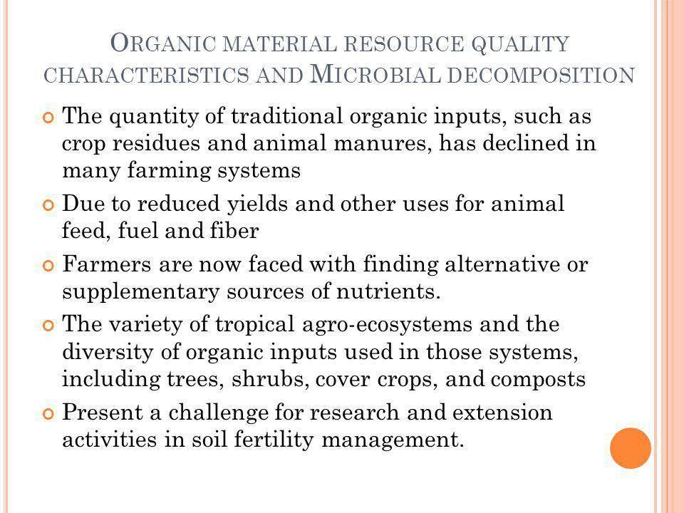 Organic material resource quality characteristics and Microbial decomposition