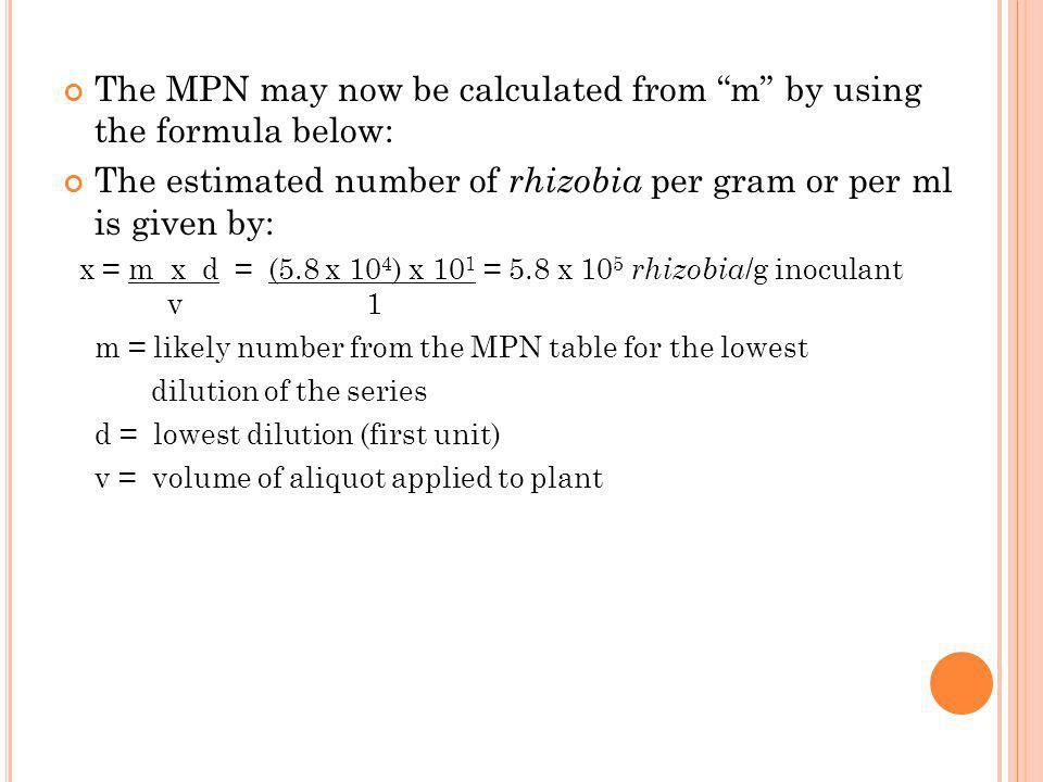 The MPN may now be calculated from m by using the formula below: