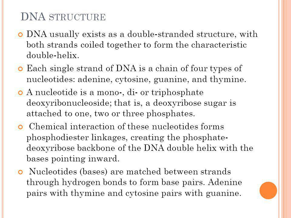 DNA structure DNA usually exists as a double-stranded structure, with both strands coiled together to form the characteristic double-helix.