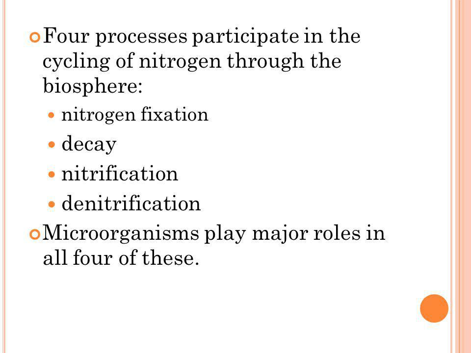 Microorganisms play major roles in all four of these.