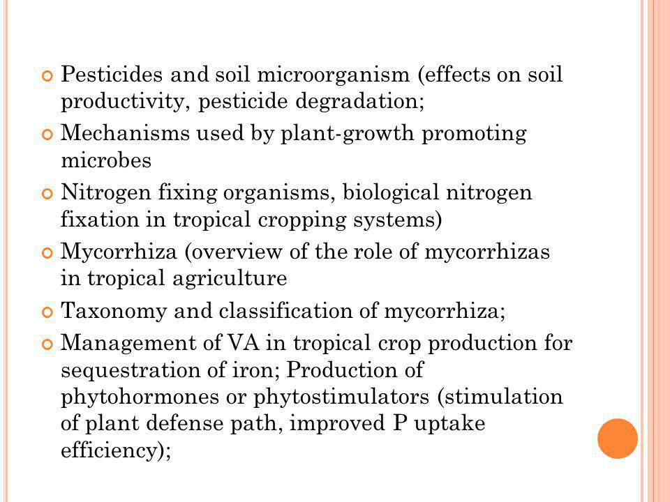 Pesticides and soil microorganism (effects on soil productivity, pesticide degradation;