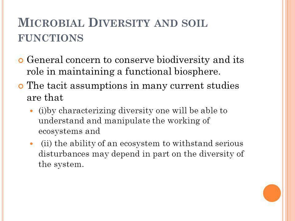Microbial Diversity and soil functions