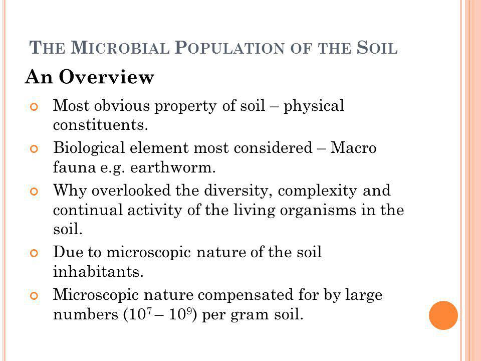 The Microbial Population of the Soil