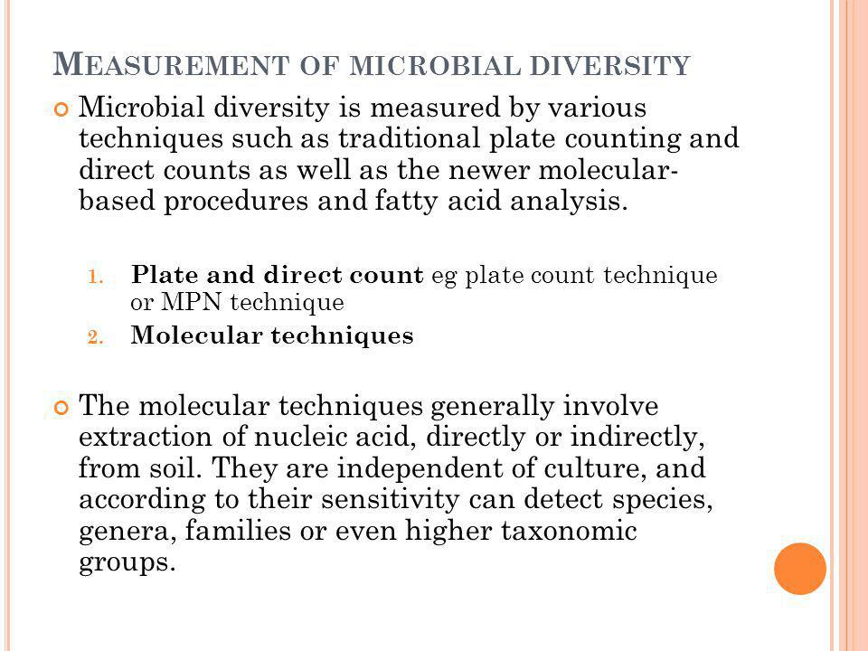 Measurement of microbial diversity