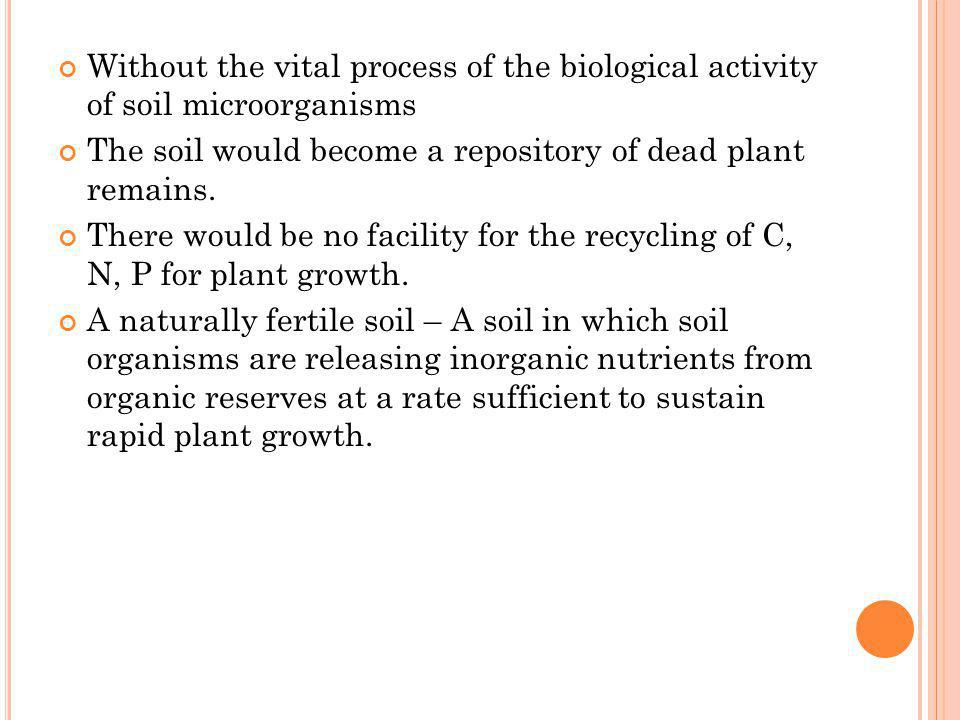 Without the vital process of the biological activity of soil microorganisms
