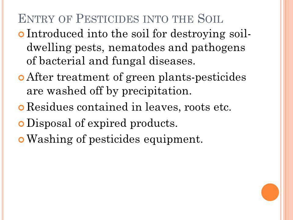 Entry of Pesticides into the Soil