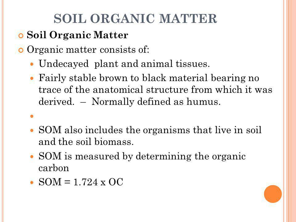 SOIL ORGANIC MATTER Soil Organic Matter Organic matter consists of: