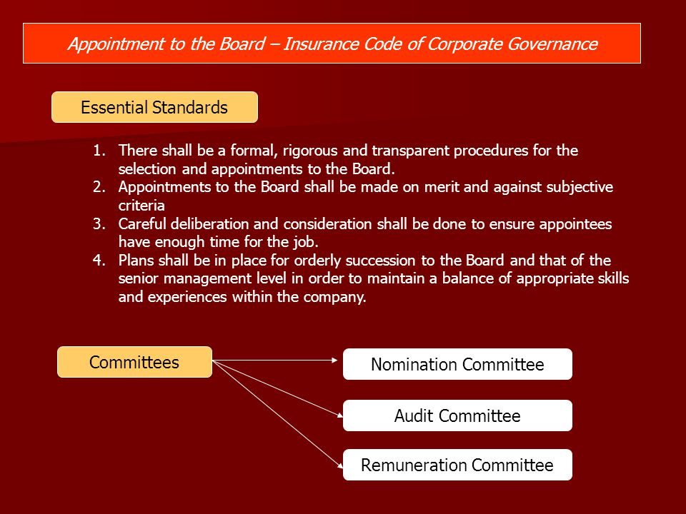 Appointment to the Board – Insurance Code of Corporate Governance