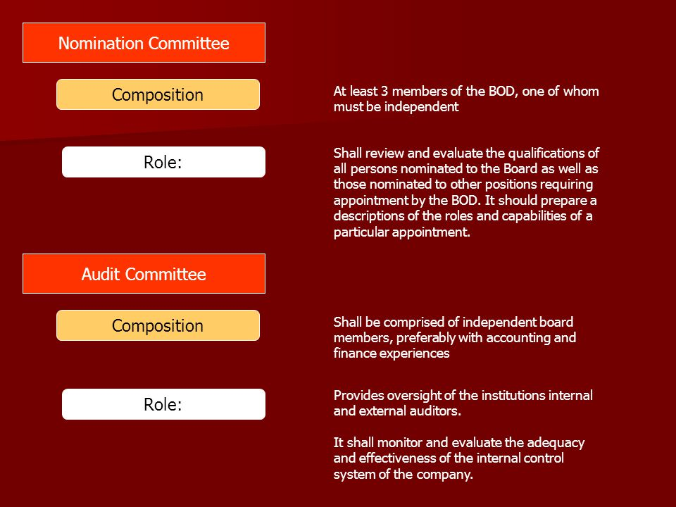Nomination Committee Composition Role: Audit Committee Composition
