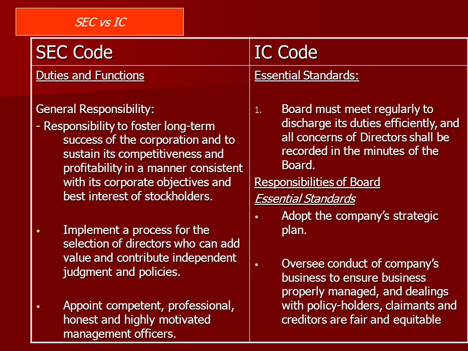 SEC Code IC Code SEC vs IC Duties and Functions