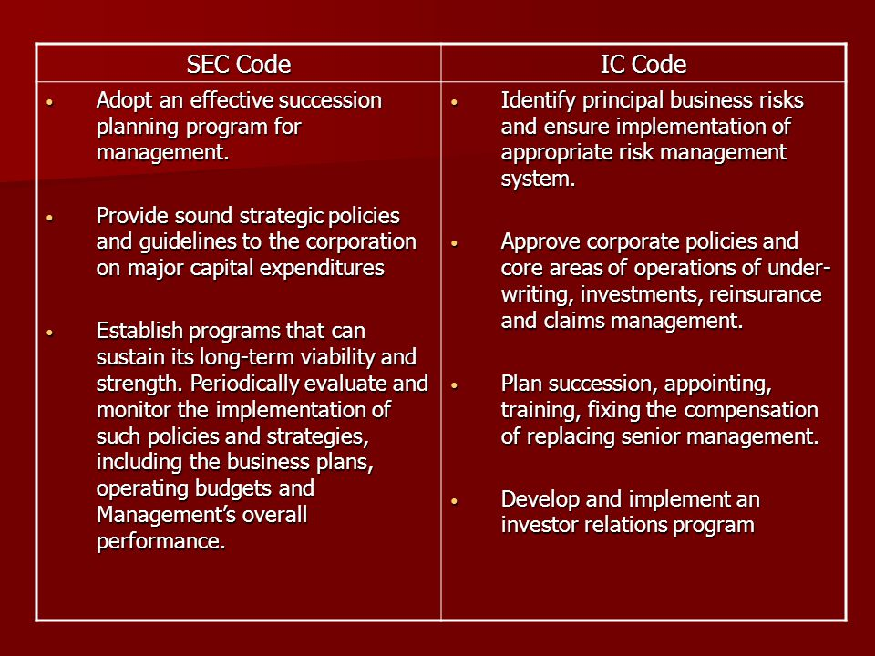 SEC Code IC Code. Adopt an effective succession planning program for management.