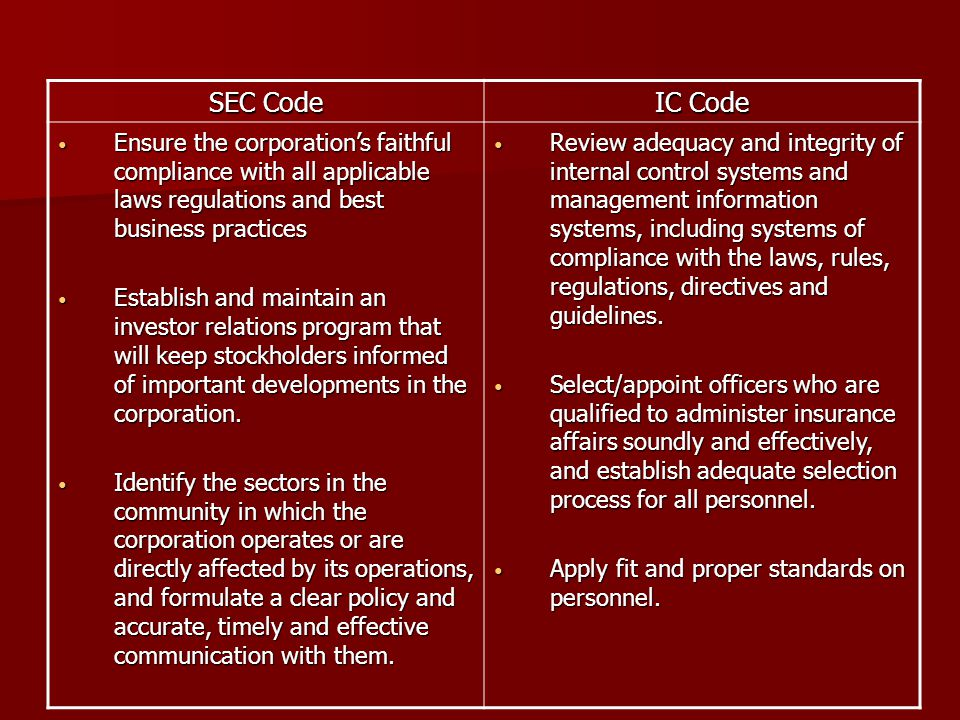 SEC Code IC Code. Ensure the corporation's faithful compliance with all applicable laws regulations and best business practices.