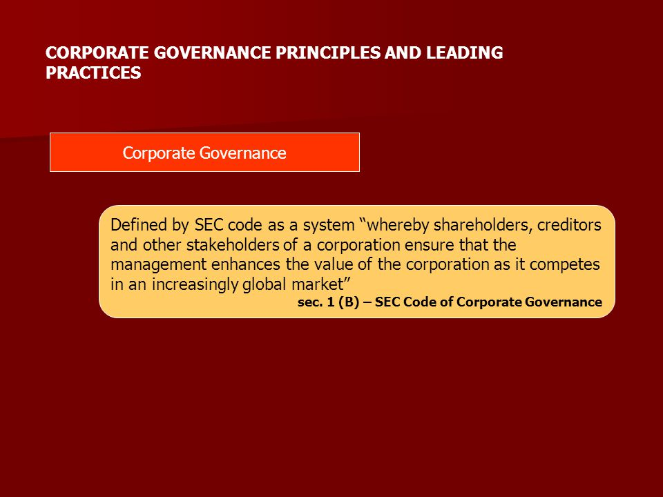 CORPORATE GOVERNANCE PRINCIPLES AND LEADING PRACTICES