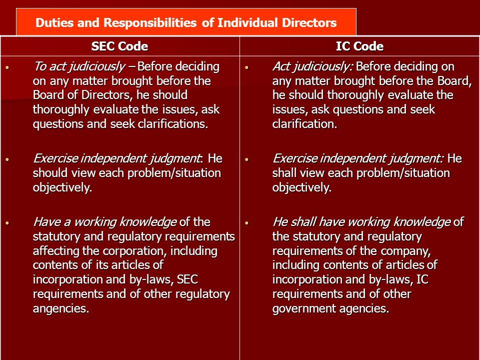 Duties and Responsibilities of Individual Directors
