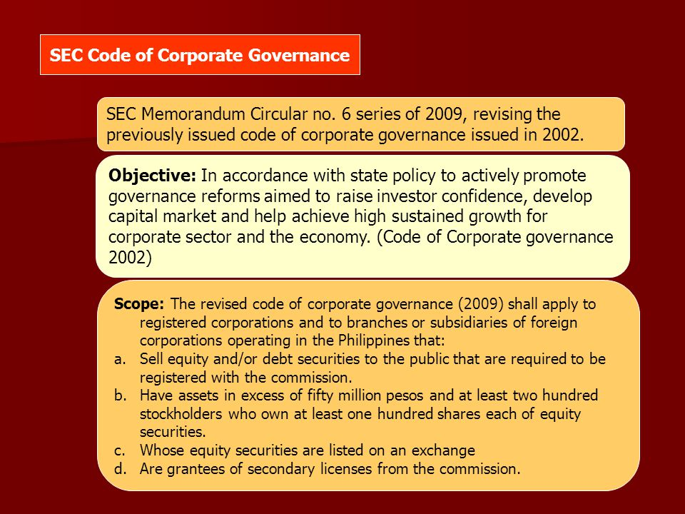SEC Code of Corporate Governance