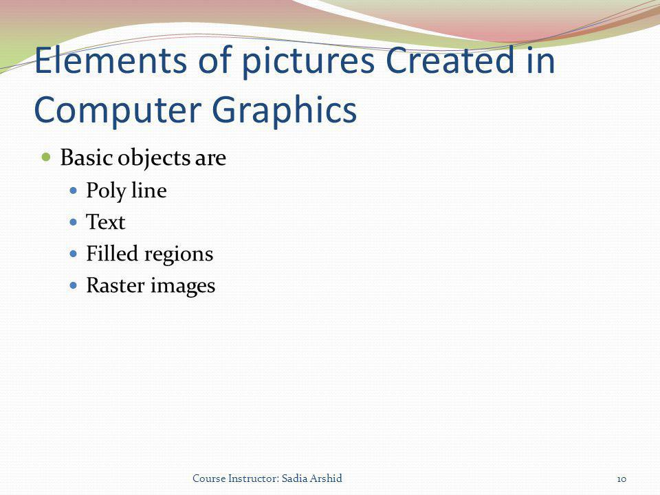 Elements of pictures Created in Computer Graphics