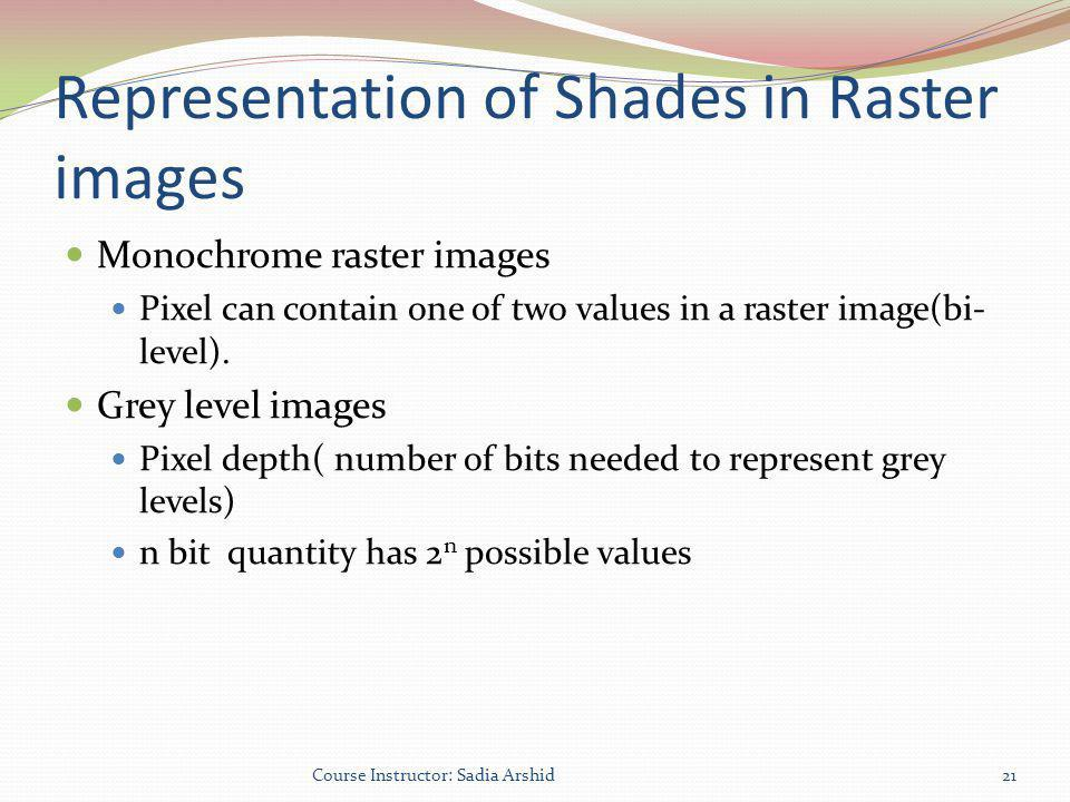 Representation of Shades in Raster images