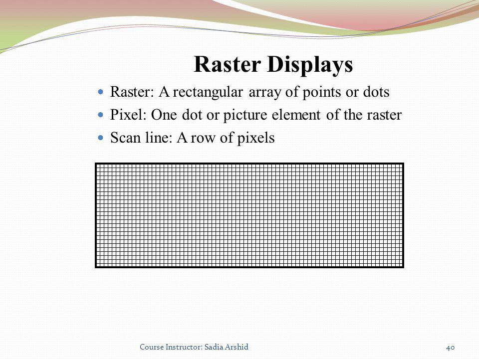 Raster Displays Raster: A rectangular array of points or dots